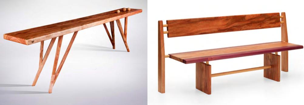 Móveis feitos a partir do mogno africano, dos designers Paulo Alves (aparador) e Maurício Azeredo (banco).